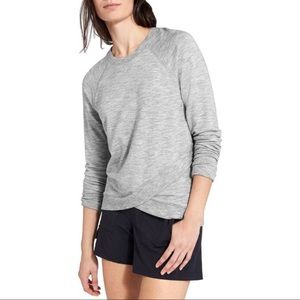 Athleta Heather Grey crew cross front sweatshirt